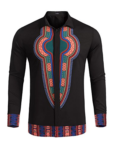 COOFANDY Mens Dashiki African Print Button Down Shirt for Cultural Event, Party