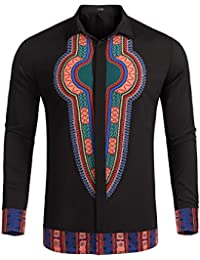 Mens Dashiki Long Sleeves African Embroidered Print Button Down Shirt