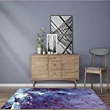 for Home or Travel abstract blue dynamic background with lighting effect fantasy artistic icy texture Easier to Dry for Bathroom 2' X 4'