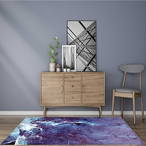 for Home or Travel abstract blue dynamic background with lighting effect fantasy artistic icy texture Easier to Dry for Bathroom 2' X 4' by L-QN