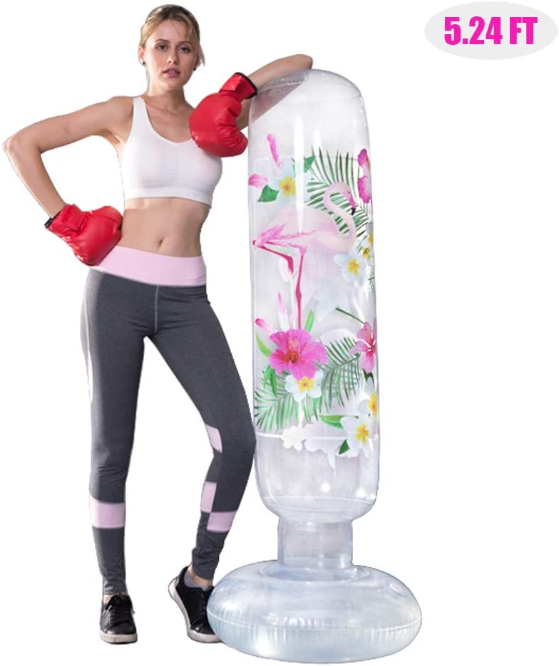 MrsharkFit Inflatable Punching Bag Free Stand, Heavy Training Bag, Adults Teenage Fitness Sport Stress Relief Boxing Target for Women and Kids Child Toddle(Flamingo)