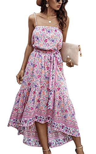 ECOWISH Women Dress Summer Spaghetti Strap Floral High Low Asymmetrical Irregular Hem Casual Long Dresses with Belt