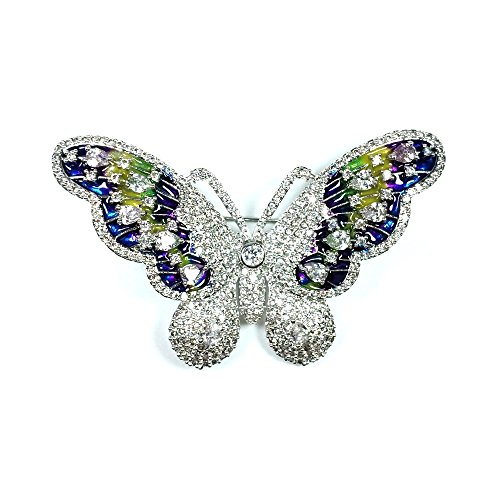 Vintage Silver Tone Micro Pave and Enameled Colorful Butterfly Brooch and (Enameled Butterfly Brooch)