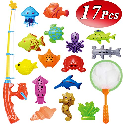 Fish Toy - CozyBomB Kids Fishing Bath Toys Game - 17Pcs Magnetic Floating Toy Magnet Pole Rod Net, Plastic Floating Fish - Toddler Education Teaching and Learning Colors Ocean Sea Animals 3 Year olds