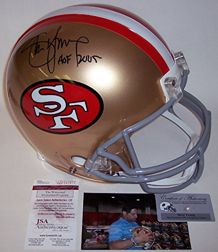 Steve Young Hand Signed (Steve Young Autographed Hand Signed San Francisco 49ers Throwback Full Size Authentic Helmet - JSA)