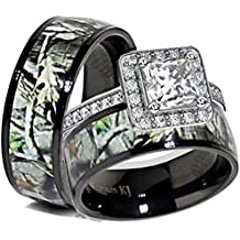 His & Her Black Titanium Camo Sterling Silver Halo Engagement Wedding Ring Set