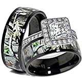 His & Her Black Titanium Camo Sterling Silver Halo Engagement Wedding Ring Set (Size Men 9; Women 6)