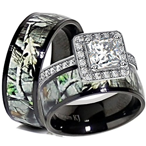 His & Her Black Titanium Camo Sterling Silver Halo Engagement Wedding Ring Set (Size Men 11; Women 6)