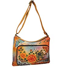 Anuschka Genuine Leather Hand Painted Twin-Top East-West Organizer