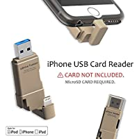 [Apple MFI Certified] TEKQ Twister uDrive microSD Card Reader to Lightning for iPhone, USB 3.0 Flash Drive/memory stick/storage expansion for iPhone, iPad, iPod, Mac and Windows PC. (Gold)