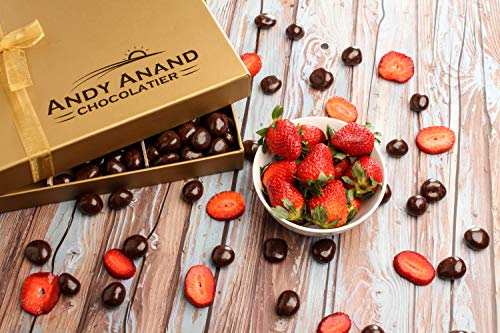Andy Anand's Chocolates - Premium California Farm fresh Strawberries covered with Rich Dark Chocolate in a Gift Box, All Natural Certified made from Natural Ingredients (1 ()