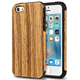 TENDLIN iPhone SE Case Wood Veneer Flexible TPU Silicone Hybrid Good Protection Case for iPhone SE and iPhone 5S 5 (Teakwood)