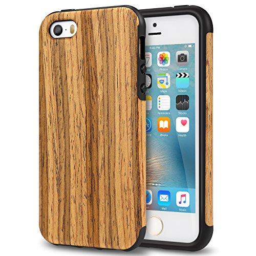 TENDLIN Funda iPhone SE Grano de Madera Silicona TPU Híbrido Suave Carcasa para iPhone SE 5S 5, Madera de Teca Madera de teca