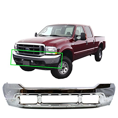 (MBI AUTO - Chrome, Steel Front Bumper Shell Fascia for 1999-2004 Ford F250 F350 F450 F550 Super Duty 99-04 & 2000-2004 Ford Excursion 00-04, FO1002375)