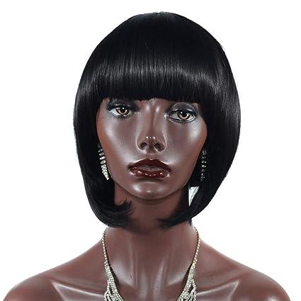 HSHU Peluca para Mujer Negro Corta Recta Pelucas Cosplay a54834265a78