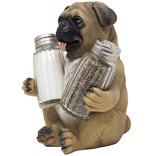 (Pug Puppy Dog Glass Salt and Pepper Shaker Set with Decorative Display Stand Holder Pet Figurine for Kitchen Décor Table Decorations As Centerpieces or Spice Racks As Unique Gifts for Dog Lovers)
