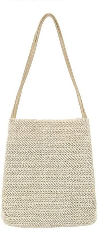 Light beige Photography Casual Woven One-Shoulder Straw Bag Summer Wild Bucket Bag Portable Handbag
