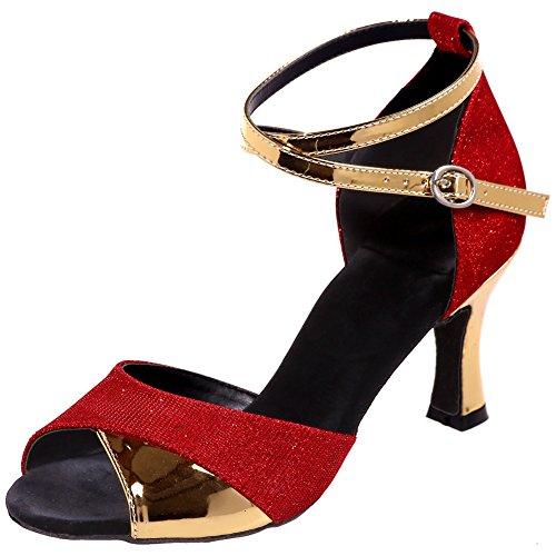 Loslandifen Donna Criss Cross Strap Peep Toe Scarpe Da Ballo Salsa Tango Sandali Latino Rosso-c