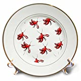 Florene - Décor III - Image of Red Crawfish Repeat Pattern - 8 inch Porcelain Plate (cp_233682_1)