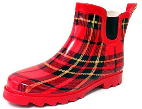 Boots 4 Rubber de Plaid Short Red Garden Bottes Boots Ankle New In pluie Available Rain Women's Styles wOxWqH