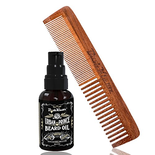 Urban Prince Beard Oil Conditioner and 2Klawz Full Size Hair & Beard Comb Gift Set Beard Care Kit and Grooming Kit Bundle Set - Best Beard Oil & Hair Comb Starter Bundle Gift Set for Men