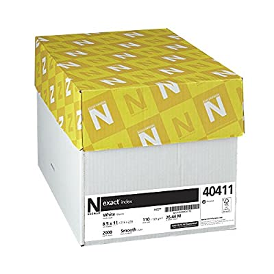 Neenah Paper Exact Index Cardstock, 110 lb, 8.5 x 11 Inches, 2000 Sheets, 94 Brightness, White (40411-0)