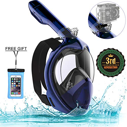 (Poppin Kicks Full Face Snorkel Mask for Adult Youth and Kids | 180° Panoramic View Anti-Fog Anti-Leak Easy Breathe No Mouthpiece Design | GoPro Compatible w/Detachable Camera Mount Midnight Blue L/XL)