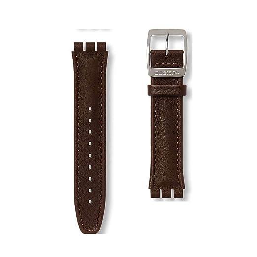 3c50fc130184 Correa Piel marrón Oscuro para Relojes Swatch Irony Chrono AYCS400 19mm   Amazon.es  Relojes