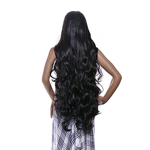 AGPtEK 40 Inches Heat Resistant Long Curly Wave Wig with Full Head Clip - Black