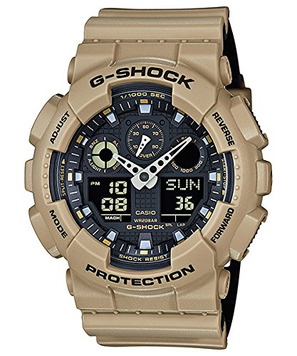 Men's Casio G-Shock Anti-Magnetic Khaki and Black Resin Watch GA100L-8A by Casio