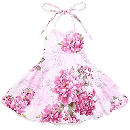 Flofallzique Vintage Floral Easter Dress for 1-12 Y Girls Birthday Wedding Party Summerdress for Toddler (10, Pink 2)