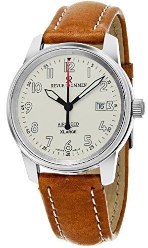 (Revue Thommen 'Air Speed XL' Silver Dial Brown Leather Strap Swiss Mechanical Watch)