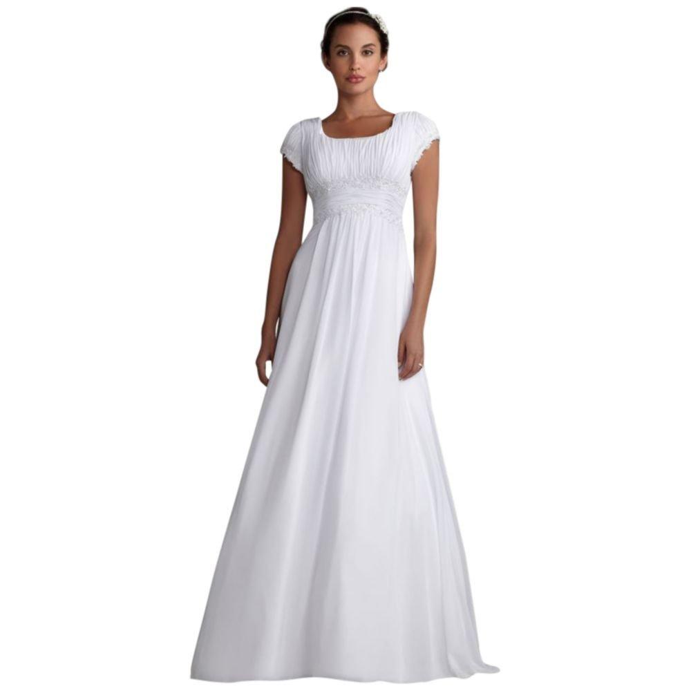 Davids Bridal Short Sleeved Empire Waist Chiffon Wedding Dress