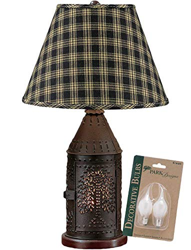 Park Designs Black Willow Punched Revere Lamp with Black Sturbridge 12