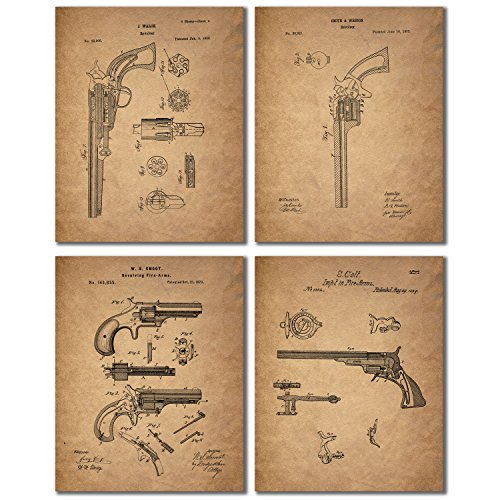 Gun Patent Wall Art Prints - Set of Four Antique Firearm Photos - Smith and Wesson - Samuel Colt