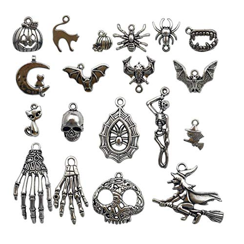 Youdiyla 55 PCS Halloween Charms Collection, Mix Silver Pumpkin Spider Web Witch Skull Hand Cat Bat All Saint's Day Metal Pendant Supplies Findings for Jewelry Making (HM1)