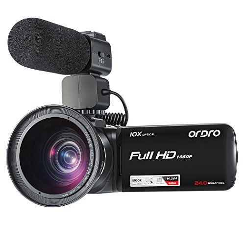 ORDRO 10X Optical Zoom Camcorder Full HD 1080P/30fps 120X Di