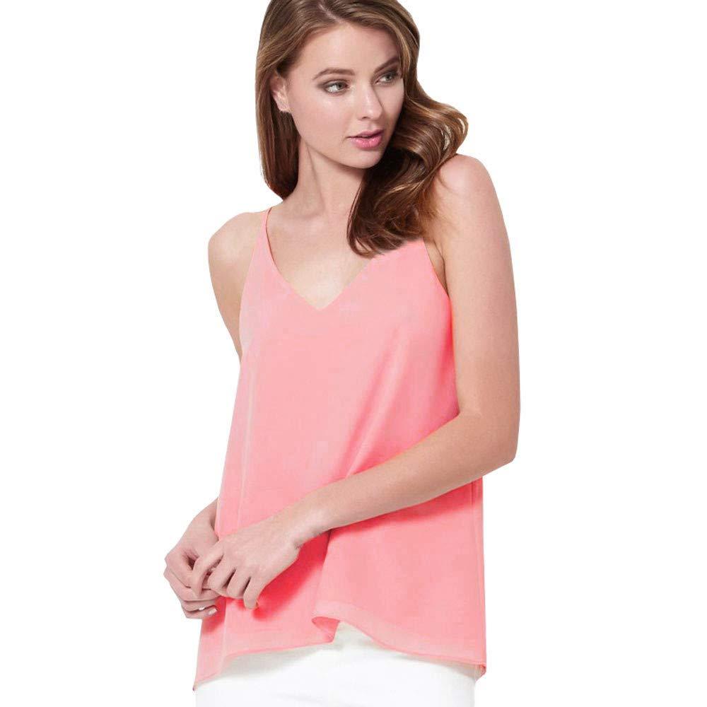 iLUGU Women V Neck Tank Top Chiffon Sleeveless Vest T Shirt Shirt Cami Blouse Pink