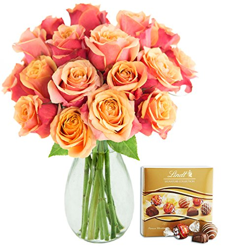 KaBloom Bouquet of 18 Fresh Cut Orange Roses (Long Stemmed) with Vase and One Box of Lindt Chocolates