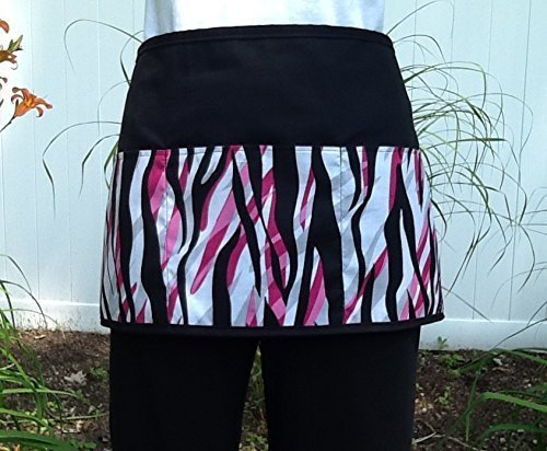 Waitress or Server, Cute Zebra design print 3 pockets, black waist half apron. Check out 300 more @ (Handmade Janet Aprons). For Restaurants, Cooks, kitchen, bartenders, gardeners and crafts.