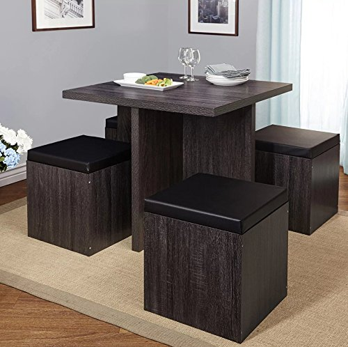 Simple Living 5-piece Baxter Dining Set with Storage Chair Ottomans (Black/Grey) (Table Wood Look Reclaimed Dining)