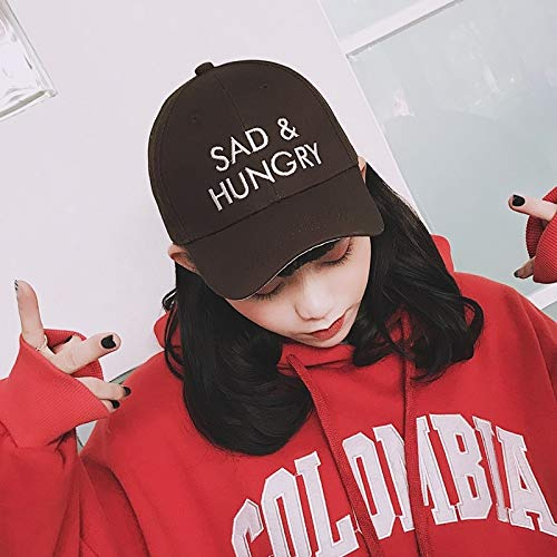unique hat cap women girls casual wave ride base spring summer influx people personalized letters embroidered cap backward curved eaves college belt buckle (sad coffee
