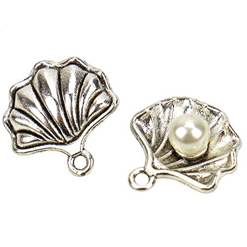 (WSSROGY 50Pcs Antique Silver Seashell with Pearl Charms Pendants for Jewerly Making)
