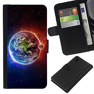 Sony Xperia Z1 L39 C6902 C6903 C6906 C6916 C6943 , la tarjeta de Crédito Slots PU Funda de cuero Monedero caso cubierta de piel ( Earth Moon Fire Water Universe Planet View)