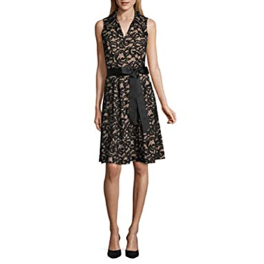 Robbie Bee Sleeveless Black And Nude Lace Shirt Fit And Flare Dress