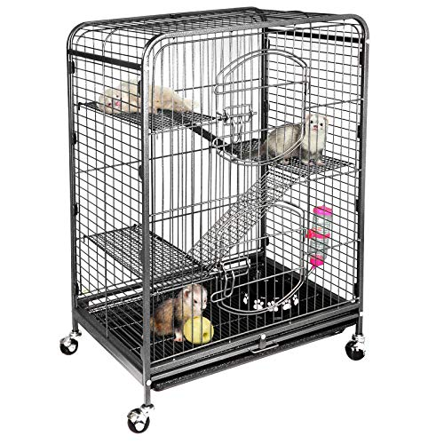 SUPER DEAL 37'' Ferret Cage Chinchilla Sugar Glider Guinea Pig Small Animal Cage – 4 Tiers – 3 Ladders – 2 Front Doors – Food Bowl – Water Bottle – Slide Out Trays – Swivel Casters (2019 Pro)