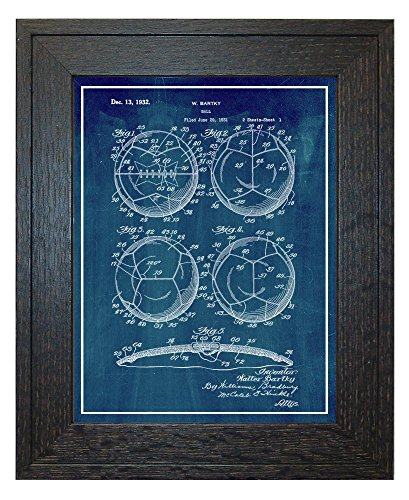 Soccer Ball Patent Art Midnight Blue Print with a Border in a Rustic Oak Wood Frame (24'' x 36'') M12442 by Frame a Patent