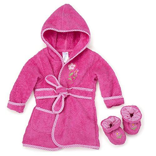 Spasilk 100% Cotton Hooded Terry Bathrobe with Booties, Pink Flower, 0-6 (Flower Hooded Towel)