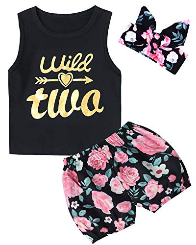 3PCS Outfit Short Set Toddler Girls Floral Vest + Pants + Headband (2T, Wild Two) -