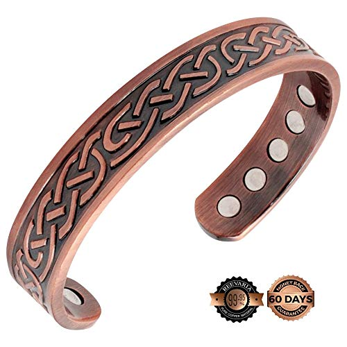Reevaria - Pure Copper Magnetic Celtic Heavyweight Cuff Bracelet for Men, with 10 Magnets 3500 Gauss- Recovery and Pain Relief - Arthritis, Golf and Other Sports, Carpal - $10 Balance Pain Bracelet